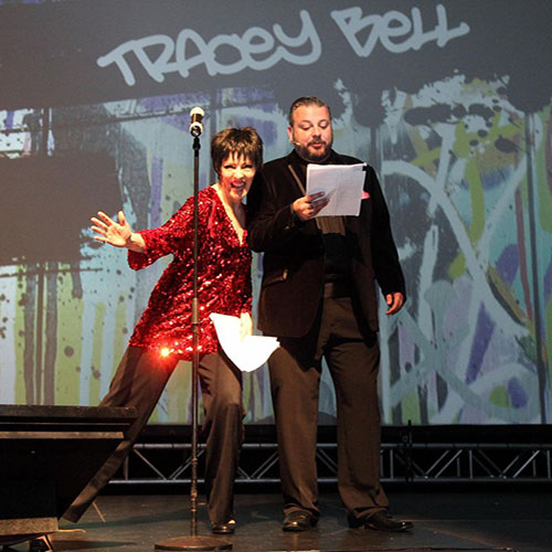 Liza Minnelli Impersonator Tracey Bell hosting the Canadian Special Event Awards with Alex Bickers from NASCO