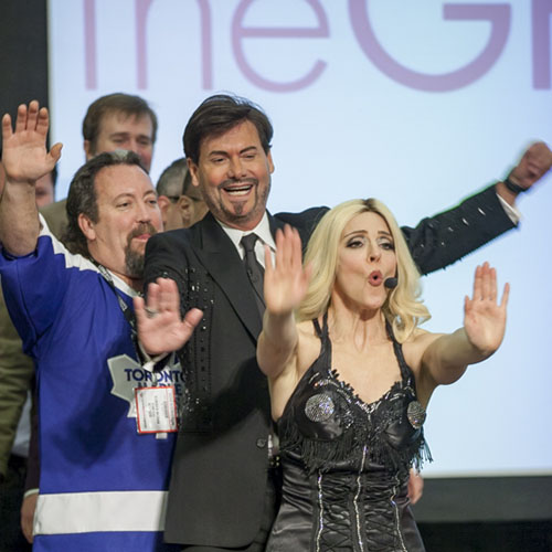 Madonna Impersonator Tracey Bell performs at Canadian Special Events Expo West- with Lifestyle Guru Steve Kemble