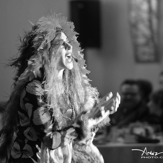 Janis Joplin Impersonator Tracey Bell performing at a corporate event