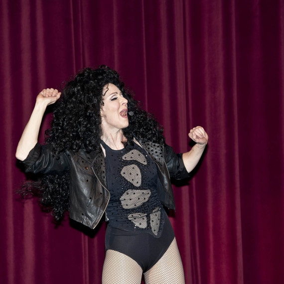 Cher Impersonator Tracey Bell performing at a corporate event