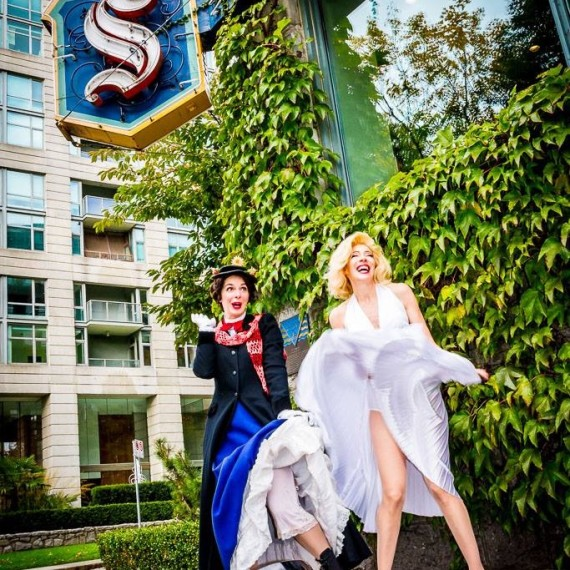 Marilyn Monroe Impersonator Tracey Bell with Sara Jean Hosie as Mary Poppins